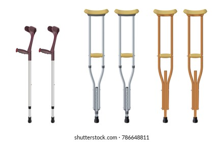 Set of crutches. Elbow crutch,  telescopic metal crutch,  wooden crutch. Medical equipment for rehabilitation of people with diseases of musculoskeletal system. Isolated objects. Vector illustration