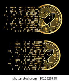 Set of crypto currency golden coins with black lackered stellar symbol on obverse isolated on black background. Vector illustration. Use for logos, print products, page and web decor or other design.