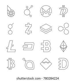 Set of crypto currency logo coins: BitShares, BitConnect, Monero, DigiByte, Golem, Zcash, Stratis, Ripple, Litecoin, Dash, Bytecoin, Ethereum, Bitcoin, Siacoin, Nem, Dogecoin. Editable Stroke