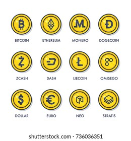 Set of cryptocurrencies coins. Icons of virtual currency: bitcoin, ethereum, monero, litecoin,dash, stratis, zcash, neo, omisego.