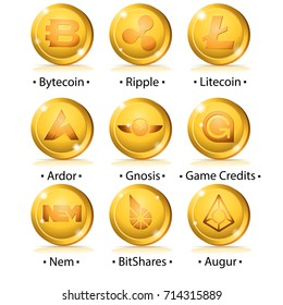 Set of cryptocurrency icon: Bytecoin, Ripple, Litecoin, Ardor, Gnosis, Game Credits, Nem, BitShares, Augur. Vector illustration isolated on white background.