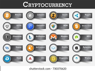 Set of cryptocurrency icon and label with value . Vector .