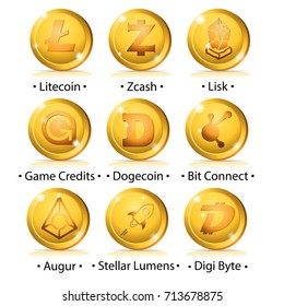 Set of cryptocurrency icon: Litecoin, Zcash, Lisk, Game Credits, Dogecoin, Bit Connect, Augur, Stellar Lumens, Digi Byte. Vector illustration isolated on white background.