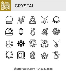 Set of crystal icons such as Mimosa, Crystal ball, Diamond, Miner, Necklace, Crystal, Wedding ring, Wizard, Snowflake, Chandelier, Fortunetelling, Jewelry, Diamond ring ,