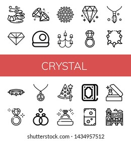 Set of crystal icons such as Stones, Diamond, Crystal ball, Snowflake, Chandelier, Wedding ring, Necklace, Diamond ring, Wizard, Fortunetelling, Air hockey, Mimosa , crystal