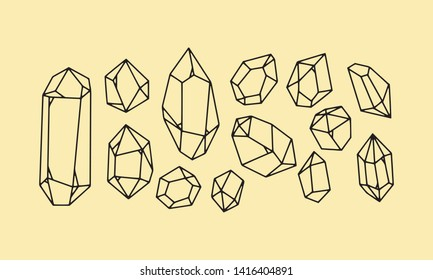 set Crystal lineart  icon. Outline element kit of mineral stone for game. diamond, emerald, aquamarine. Simple crystal black contour vector Illustration