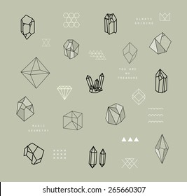 Set of crystals. Geometric shapes. Trendy hipster retro backgrounds and logotypes.
