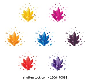 Set of crystals and shards, yellow, orange, red, pink, blue, purple, black colors. Magic crystal Druze, colorful stone. Vector illustration isolated.
