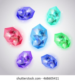 Set of crystals in various colors with glares and shadows