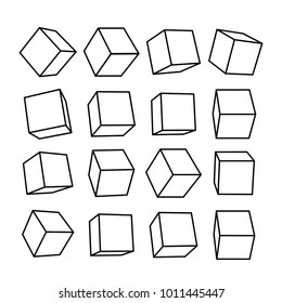 Set of Cube icon set with perspective 3d model of a cube. Vector illustration. Isolated on white background