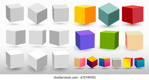 Set of Cube icon set with perspective 3d model of a cube. Vector illustration. Isolated on transparent background