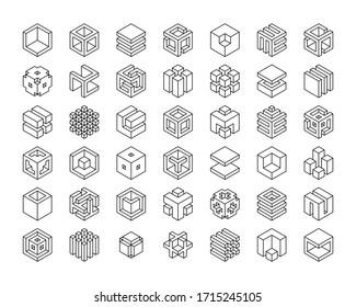 Set cubes vector icon. Cube logo template.