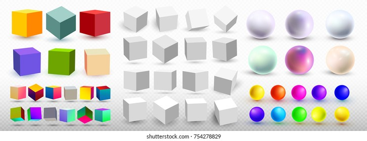 A set of cubic icons and balls with a perspective 3d cube model with a shadow. Vector illustration. Isolated on a transparent background