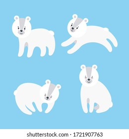 Set of cuddly polar bears for prints and patterns on textile, paper and other materials. Vector illustration in flat style on blue background