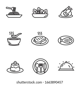 Set of cuisine icons in black line design. Foods vector illustration in simple black and white design isolated on white background