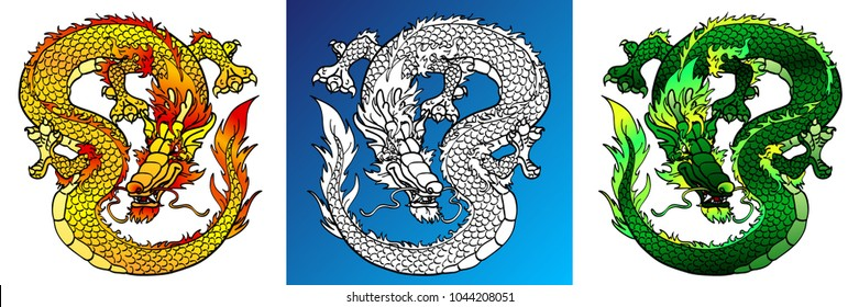 Set cunning asian dragons colorful yellow and green and line-art separately on a blue and white background. Vector cartoon illustration, page coloring book