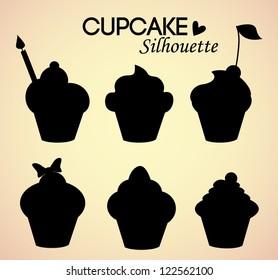 Set of cupcake silhouettes