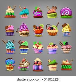 Set of cupcake. Vector illustration.
