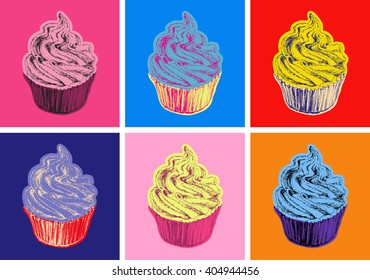 Set of Cupcake Vector Illustration Pop Art Style Andy Warhol