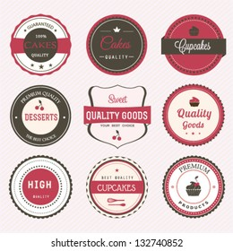 Set of cupcakes and bakery