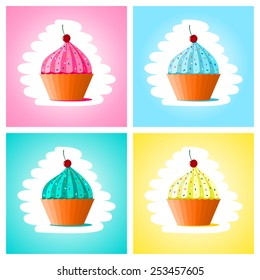 Set of cupcakes different colors