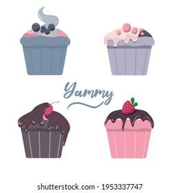 Set of cupcakes. Maffins. Vector illustration. Food