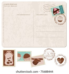 Set of cupcakes on old postcard, with stamps - for design and scrapbook