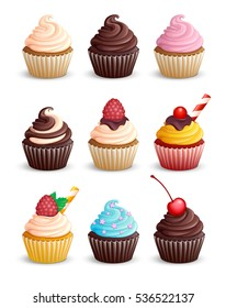 Set cupcakes on a white background. Icons. Isolated. Sweet pastries decorated with cherry, cowberry, raspberries, mint, candy, chocolate and star. Vector illustration. 3D.