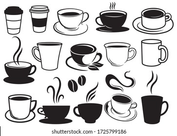 Set of cups of coffee. Collection of stylized coffee cups or tea. Logotype for coffee shops. Vector illustration of hot drinks.