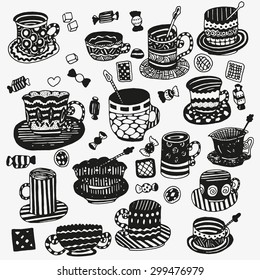 set of cups and mugs. Doodle, pattern, zentangle, coffee or tea time, cupcake, cups, candy, lollipops. Stock vector.