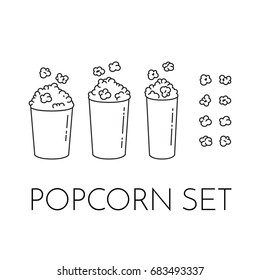 Set of cups with popcorn and kernels flying into the bucket. Different sizes of popcorn boxes isolated on white background. Modern line art style vector illustration.