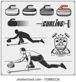 Set of curling labels, emblems and design elements.