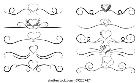 Set of curls and scrolls. Decorative elements for frames. Simple vector dividers with hearts.