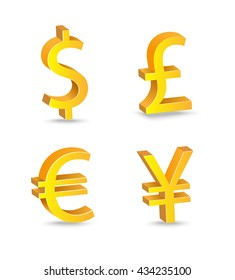Set of currency bill signs on a white background. US dollar, Great British pound, Japanese Yen, Euro. Vector golden illustartion