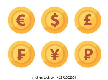 Set of currency coins icon isolated on white transparent background in vector. Euro, Dollar, Pound Sterling, Frank, Yen and Ruble