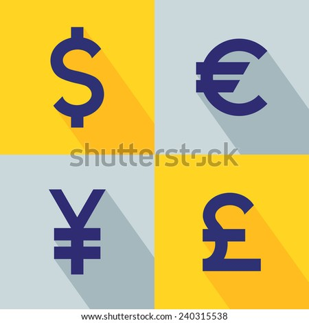 Set Currency Icons Currency Converter Symbol Stock Vector Royalty