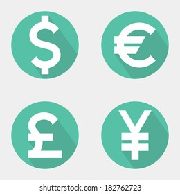 Set of currency icons. Vector illustration