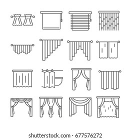 Set of curtains Related Vector Line Icons. Includes such icons as blin, Gardin, portiere, drapery, window