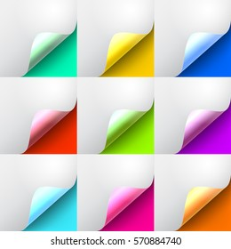 Set the curved glossy corners  of white paper with shadow. Mock-ups closeup on colorful backgrounds. Vector illustration EPS 10