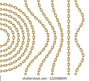 Set of curved, wavy, arcing and straight repeatable golden chain segments. Vector realistic illustration.