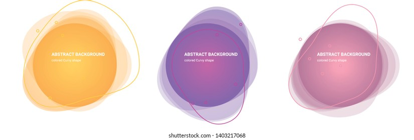 Set of Curvy Gradient Elements. Set of Abstract Amoeba Shaped Backgrounds for Flyers, Banners, Web Sites, Business Cards, Invitations, Gift Cards, Brochures, Landing Pages