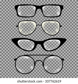 Set of custom glasses isolated. Vector illustration on transparent background. Glasses model icons, man, women frames. Sunglasses, eyeglasses isolated. silhouettes. Different shapes, frame, styles
