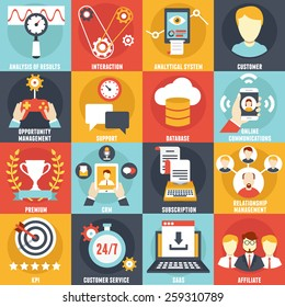 Set of Customer Relationship Management Icons - vector icons