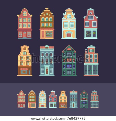 Set of customizable pixel art European houses.
