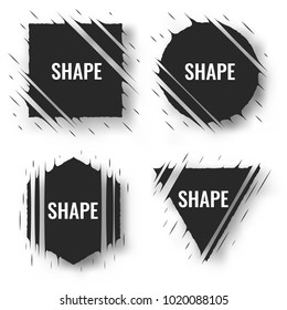 Set of cut geometric shapes. Strokes ripped effect. Shapes to for rip, slash, damage, torn effects