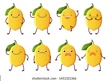 Set cut lemon characters. Cute fruit vector characters isolated on white background.
