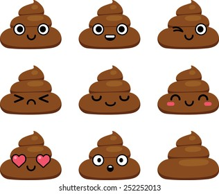 set of cut poop emoticon smileys  isolated on white background