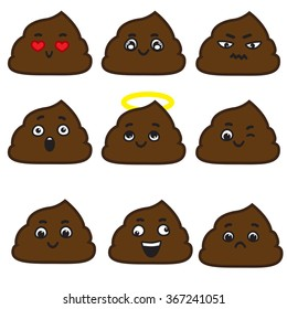 Set of cut poop emotion smileys isolated on white background