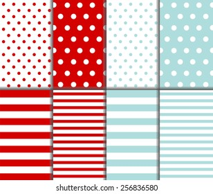 Set of cute abstract seamless big and small polka dot pattern and horizontal lined textile on light blue and dark red background with white dots and stripes. Vector art image illustration