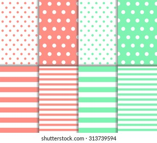 Set of cute abstract seamless big and small polka dot pattern and horizontal lined textile on pastel red and light green color background with white spots and stripes. Vector art image illustration